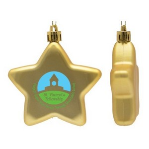Flat Christmas Ornament - Star Shape Shatter Resistant - Gold