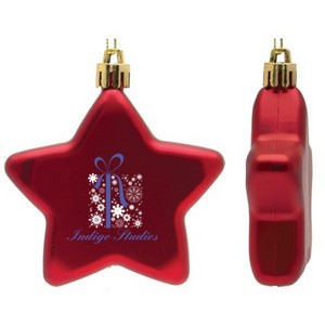 Flat Christmas Ornament - Star Shape Shatter Resistant - Red
