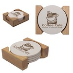 Round Coaster Set of 4 in Wooden Holder