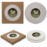 Round Greek Key Absorbent Stone Coaster Duo Set of 2