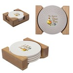 Round Greek Key Absorbent Stone Coaster Set of 4