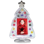 Christmas Tree Snow Globe with Custom Imprint and Photo Insert