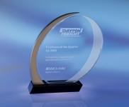 Traveler Oval Optical Crystal and Chrome Award