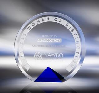 Cyrk Bevelled Crystal Award / Blue