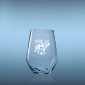 Domaine Stemless White Engraved Wine Glasses - Set of 2