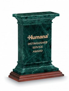 Churchill Green Marble on Wood Base Award
