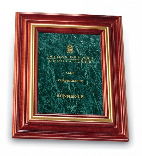 Green Marble Plaque with Solid Cherry Wood Frame