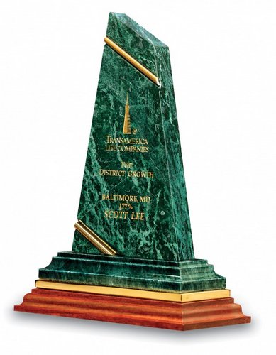 Trendsetter Genuine Green Marble Award on Wood Base