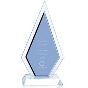 Duo Diamond Blue and Clear Optical Crystal Sales Award