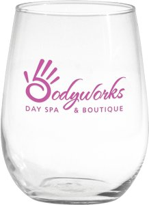 Vina Stemless White Wine Glass with Custom Imprint 17 oz.
