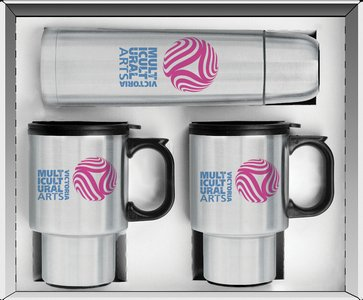 Three Piece Stainless Steel City Beverage Gift Set