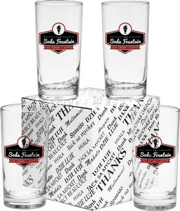Deluxe Beverage Glasses 12 oz - Set of 4 in Thank you Gift Box