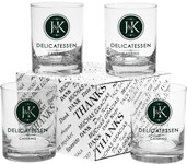 Executive Double Old Fashion Glasses - Thank You Set 14 oz.