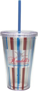 Vivid Print Carnival Cup Color Straw, Clear Lid