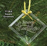 Square Glass Ornament with Laser Etch