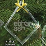 Diamond Shape Glass Ornament with Laser Etch