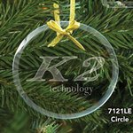 Round Circle Glass Ornament with Laser Etch