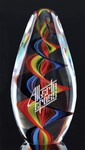 Inspire Art Glass Award with Rainbow Swirl