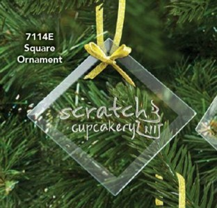 Square Etched Ornament 3.5 in.