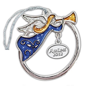 Angel with Trumpet Platinum Sparkling Ornament