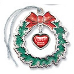 Holiday Wreath Platinum Sparkling Ornament