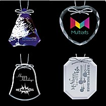 corporate christmas ornaments in glass and crystal - Add your company logo in full color or engrave Crystal and Glass Ornaments and Suncatchers