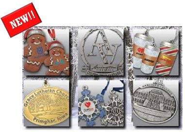 Custom Metal and Pewter Christmas Ornaments personalized with your picture or logo