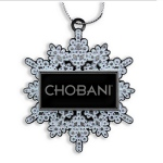 Snowflake Ornament with White Glitter Enamel and Logo