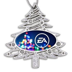 Die Cast Christmas Tree Ornament with Logo Dome Imprint