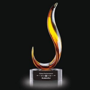 Amber Blaze Award on Clear Base - Large 14.5 in.