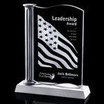 Westchester Award - Jade Glass with Silver Resin Base and Column 9 in.
