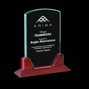 Thornton Jade Glass Award on Rosewood Base 8 in.