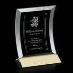 Dominga Award Curved bevelled Jade Crystal on Aluminum Base 5in x7in