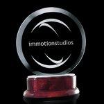 Vernet Circular Jade Award on Piano Finish Rosewood Base 6?in