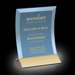 Dominga Award - Blue Tinted Glass with Gold 5 in x7 in