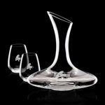 Madagascar Carafe and 2 Stemless Wine Glasses Engraved