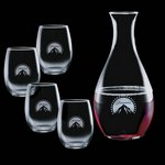 Riley Carafe and 4 Stanford Wine Glasses Engraved