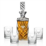 Cavanaugh Decanter and 4 Double Old Fashioned Glasses