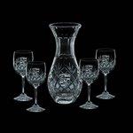 Medallion Carafe and 4 Wine Glasses Engraved Glasses