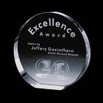 Round Optical Crystal Glenwood Award Engraved 7 in.