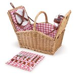 Piccadilly Red and White Plaid Willow Picnic Basket