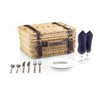Champion Picnic Basket, (Navy Lining & Napkins with Dark Brown