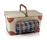 'Pioneer' Picnic Basket, (Tan with Navy & Khaki Green Plaid)