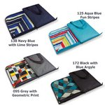 Vista Outdoor Blanket Tote, (Black with Blue Argyle)
