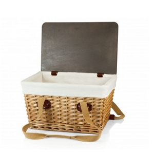 Canasta Wicker Basket, (Natural Willow with Brown Lid & Tan Lin