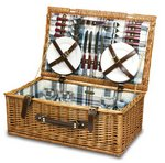 Newbury-Blue Plaid English Style Willow Basket Service F/4