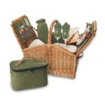 Somerset Picnic Basket, (Sage Hunter Green with Plaid)