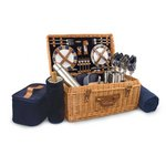 Windsor Picnic Basket, (Navy with Plaid) Picnic Basket