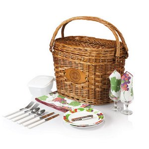 Romance Picnic Basket, (Burgundy with Nouveau Grape Print)