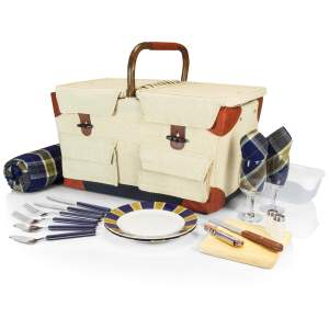 Pioneer Picnic Basket, (Tan with Navy & Khaki Green Plaid)
